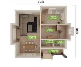 Дом из СИП панелей по проекту Демо - план первого этажа