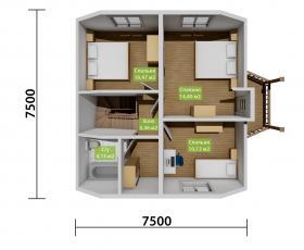 Дом из СИП панелей по проекту Санино план второго этажа
