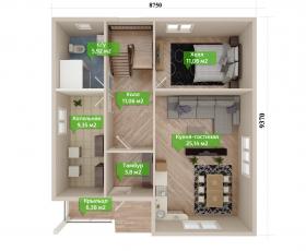 Дом из СИП панелей по проекту Касимово - план первого этажа
