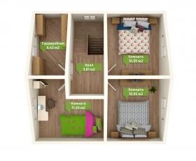 Дом из СИП панелей по проекту Николь план второго этажа
