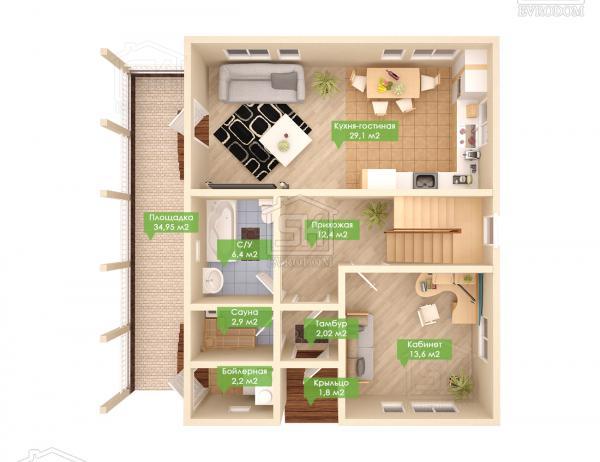 Дом из СИП панелей по проекту Альфа - план первого этажа