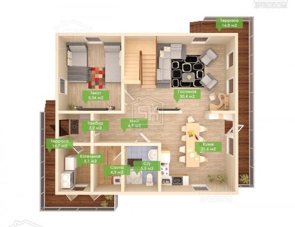 Дом из СИП панелей по проекту Гратион - план первого этажа