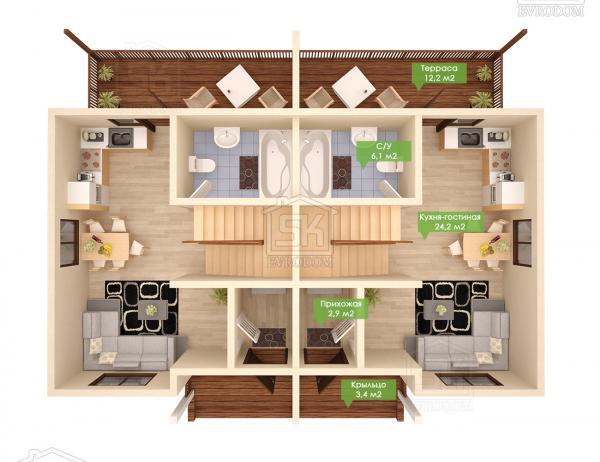 Дом из СИП панелей по проекту Дуплекс - план первого этажа