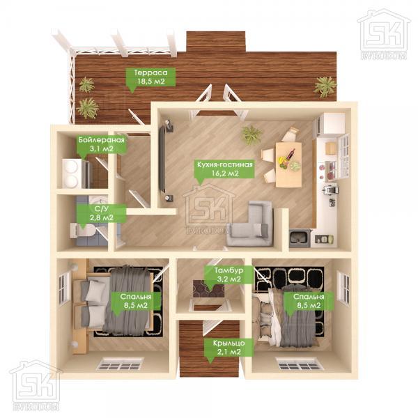 Дом из СИП панелей по проекту Бриз - план первого этажа