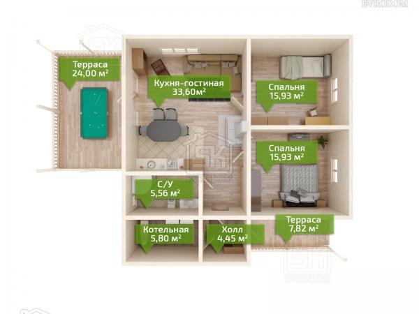 Проект дома из СИП панелей Лебяжье план этажа