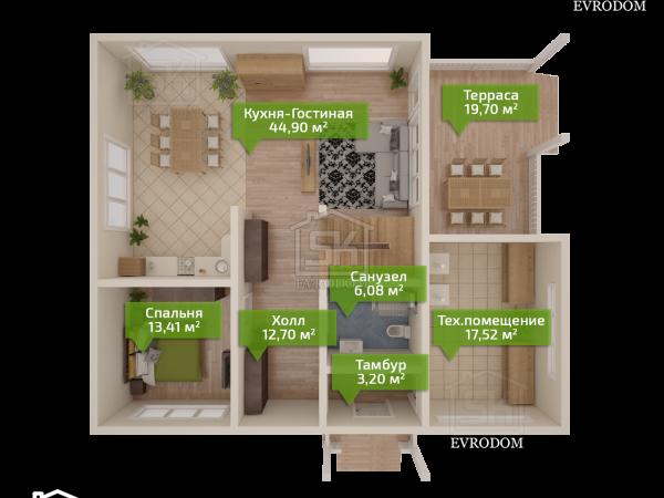 Дом из СИП панелей по проекту Череповец - план первого этажа