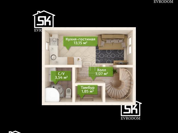 Проект дома из СИП панелей Соло - план первого этажа