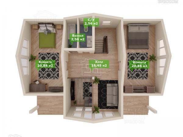Проект дома из СИП панелей Зелёная Роща план второго этажа