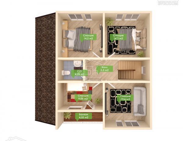 Дом из СИП панелей по проекту Альфа - план второго этажа