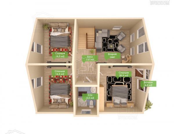 Дом из СИП панелей по проекту Гратион - план второго этажа