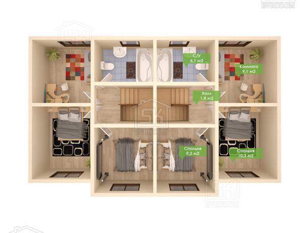 Дом из СИП панелей по проекту Дуплекс - план второго этажа