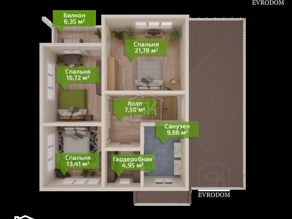 Дом из СИП панелей по проекту Череповец - план второго этажа