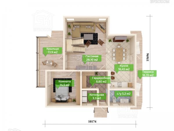 Дом из СИП панелей по проекту Барон - план первого этажа