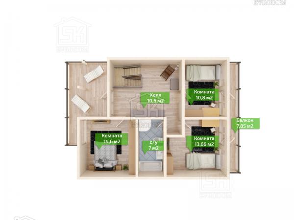 Дом из СИП панелей по проекту Барон - план второго этажа