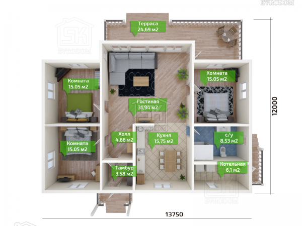 Дом из СИП панелей по проекту Братск - план первого этажа