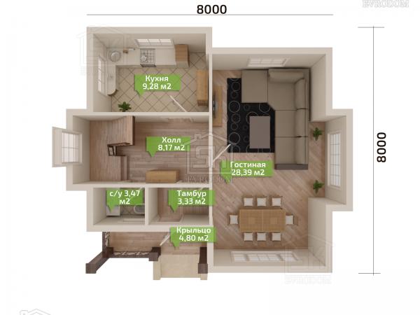 Дом из СИП панелей по проекту Демо 2 - план первого этажа