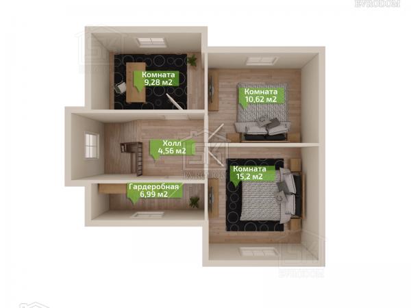 Дом из СИП панелей по проекту Демо 2 - план второго этажа