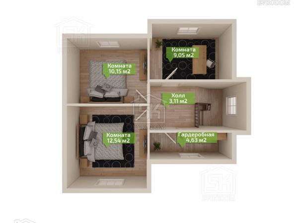 Дом из СИП панелей по проекту Демо - план второго этажа