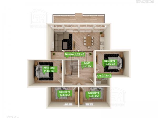 Дом из СИП панелей по проекту Эдельвейс план второго этажа