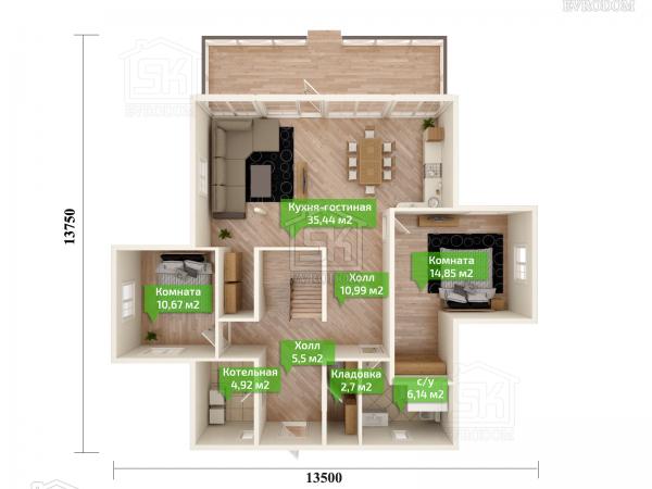 Дом из СИП панелей по проекту Эдельвейс план первого этажа