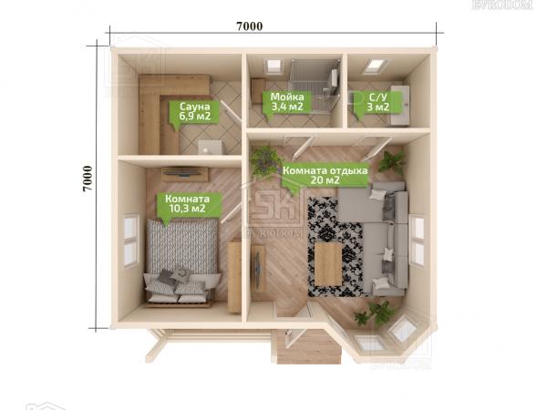Проект дома из СИП панелей Эллин план первого этажа