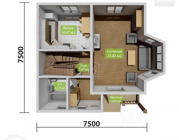 Дом из СИП панелей по проекту Санино план первого этажа