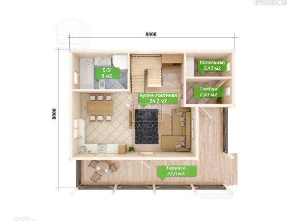 Дом из СИП панелей по проекту Кискелево план первого этажа