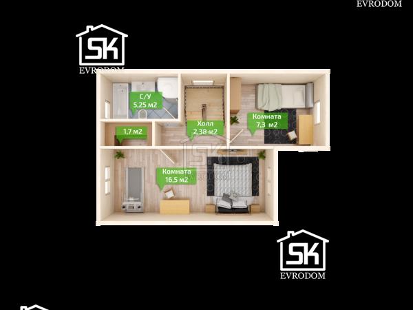 Дом из СИП панелей по проекту Кискелево план второго этажа
