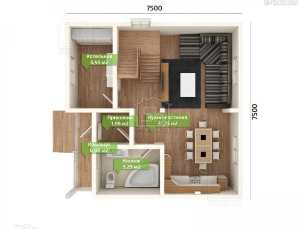 Дом из СИП панелей по проекту Николь план первого этажа