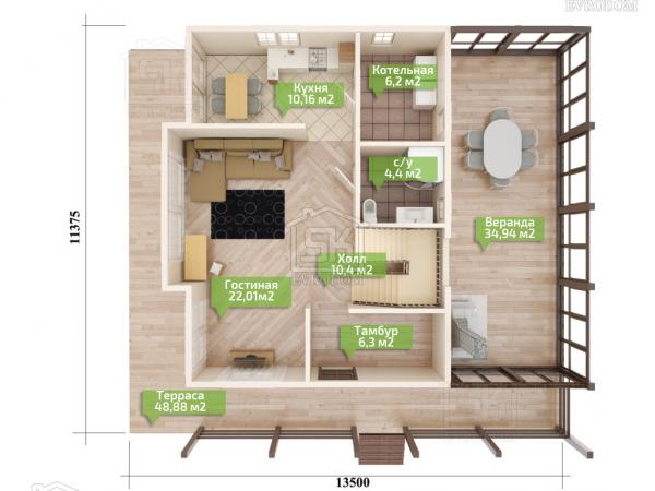Дом из СИП панелей по проекту Озерки план первого этажа