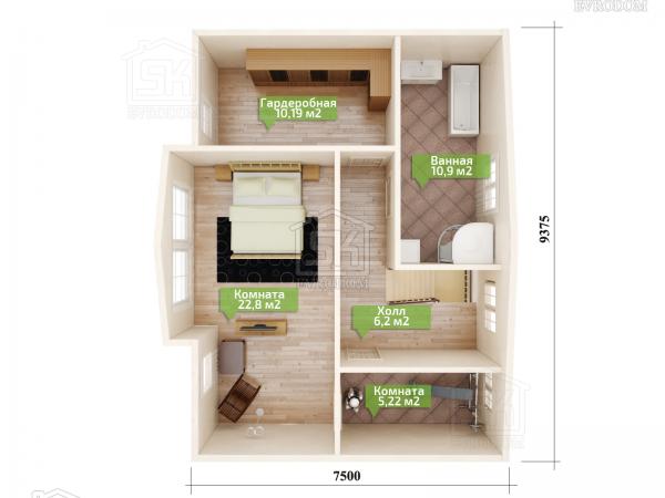 Дом из СИП панелей по проекту Озерки план второго этажа