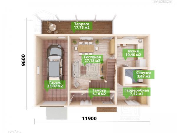 Проект дома из СИП панелей Дружное план первого этажа