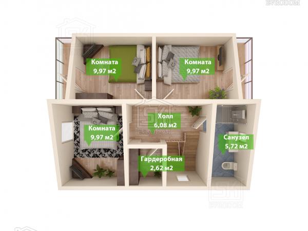 Проект дома из СИП панелей Комфорт план первого этажа