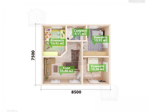 Проект дома из СИП панелей Дружное план второго этажа