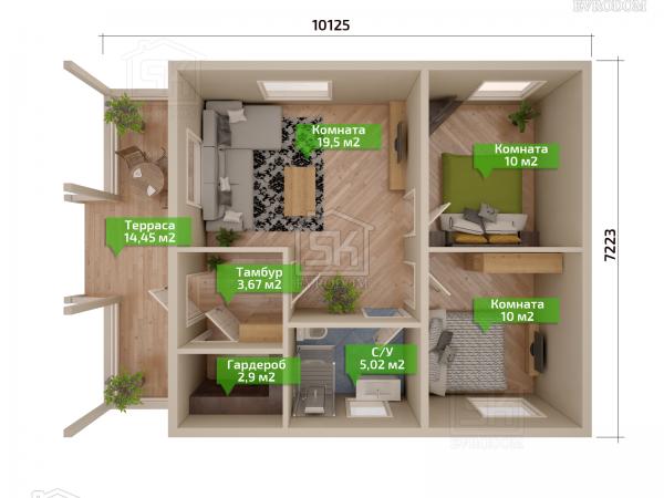 Дом из СИП панелей по проекту Хиттолово план первого этажа