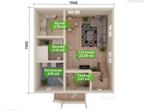 Дом из СИП панелей по проекту Клио план первого этажа