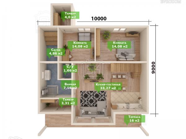 Дом из СИП панелей по проекту Победитель план первого этажа