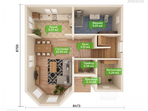 Дом из СИП панелей по проекту Мерлин план первого этажа