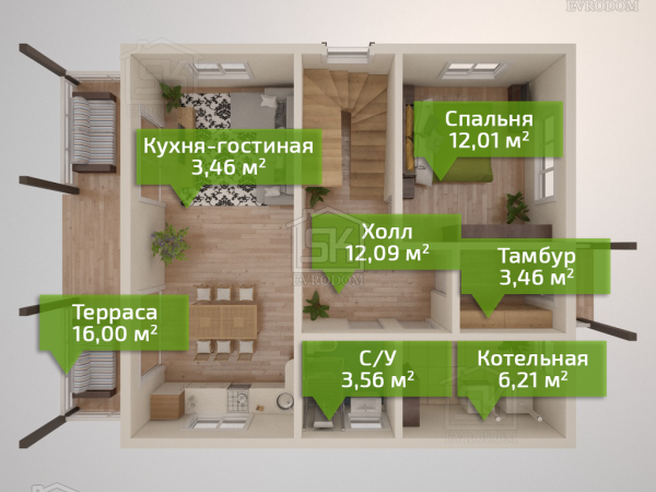 Борисово - план первого этажа