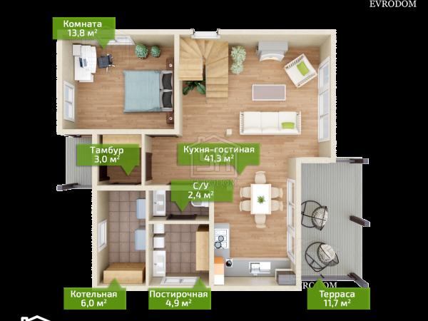 Луговое план первого этажа