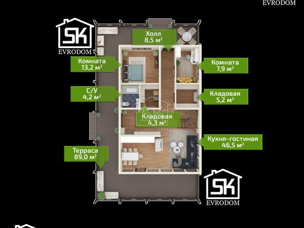Дачное 2 план первого этажа