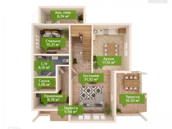 Проект дома из СИП панелей Сосново - план первого этажа