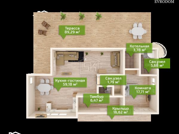 Проект дома из СИП панелей Диез план первого этажа