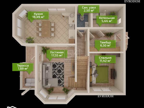 Проект дома из СИП панелей Игора план первого этажа