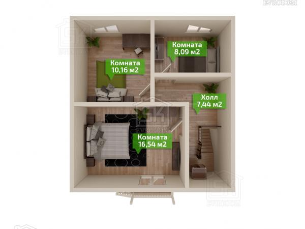 Дом из СИП панелей по проекту Клио план второго этажа