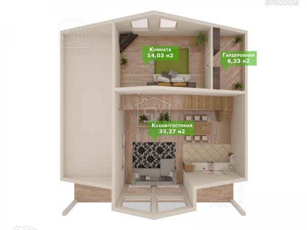 Дом из СИП панелей по проекту Победитель план второго этажа