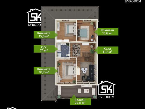 Дачное 2 план второго этажа