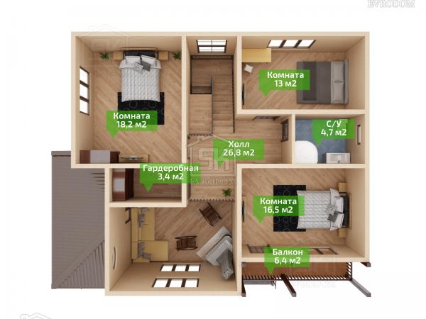 Дом из СИП панелей по проекту Вайя план второго этажа