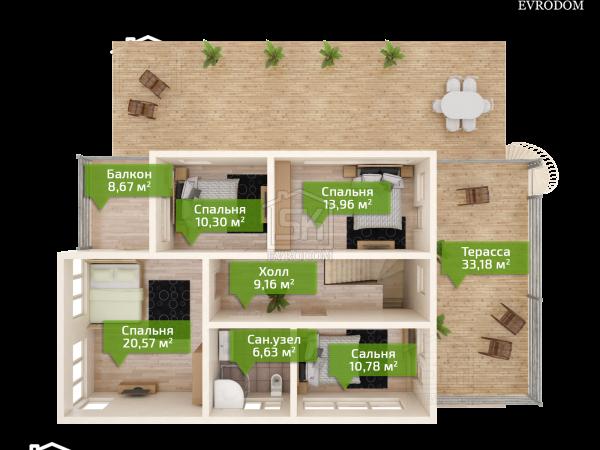 Проект дома из СИП панелей Диез план второго этажа