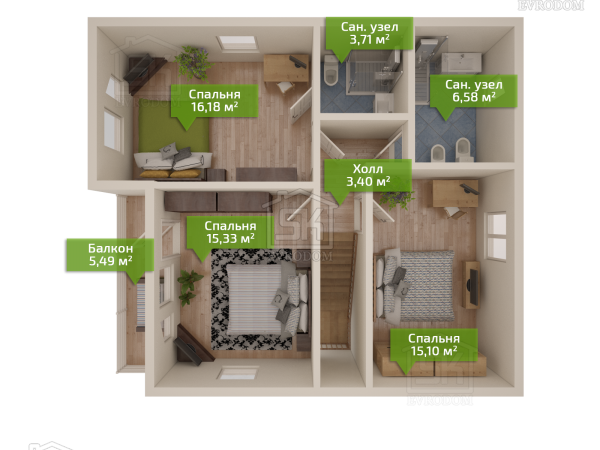 Проект дома из СИП панелей Игора план второго этажа